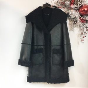 New Elie Tahari Faux Leather+Shearling Coat Size S